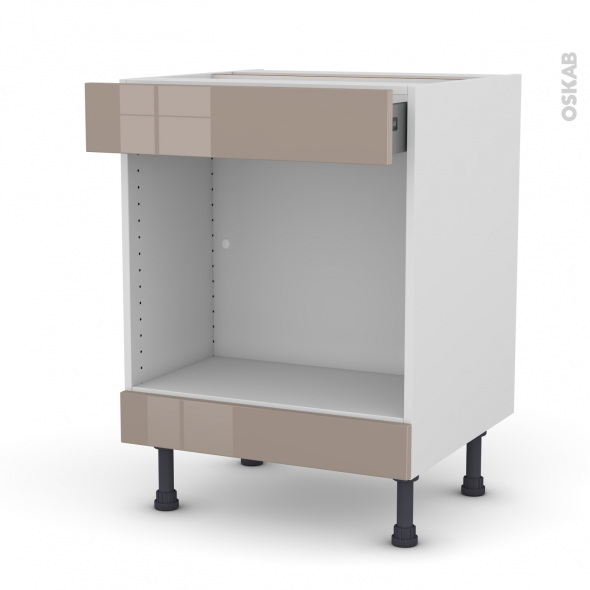 Meuble de cuisine - Bas MO encastrable niche 45 - KERIA Moka - 1 tiroir haut - L60 x H70 x P58 cm