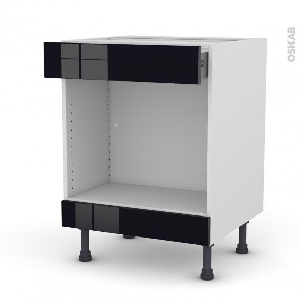 Meuble de cuisine - Bas MO encastrable niche 45 - KERIA Noir - 1 tiroir haut - L60 x H70 x P58 cm