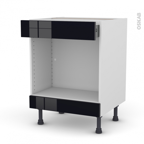 KERIA Noir - Meuble bas MO niche 45 - 1 tiroir haut - L60xH70xP58