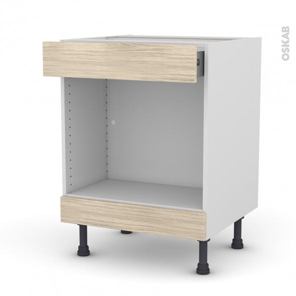 Meuble de cuisine - Bas MO encastrable niche 45 - STILO Noyer Blanchi - 1 tiroir haut - L60 x H70 x P58 cm