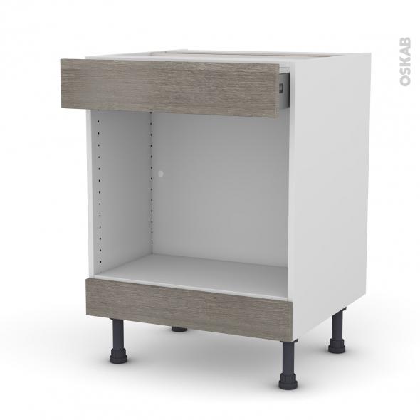 Meuble de cuisine - Bas MO encastrable niche 45 - STILO Noyer Naturel - 1 tiroir haut - L60 x H70 x P58 cm