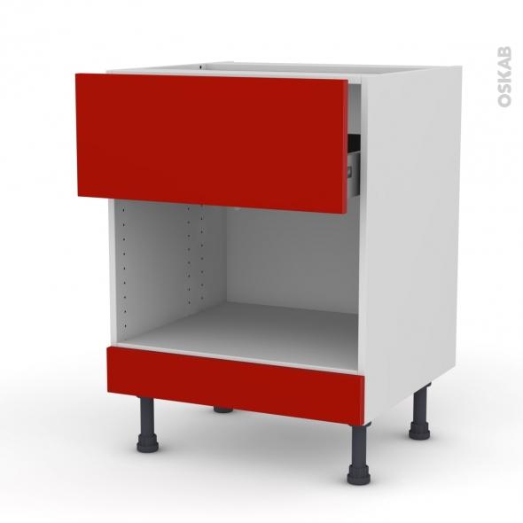 GINKO Rouge - Meuble bas MO niche 45 - 1 tiroir haut - L60xH70xP58