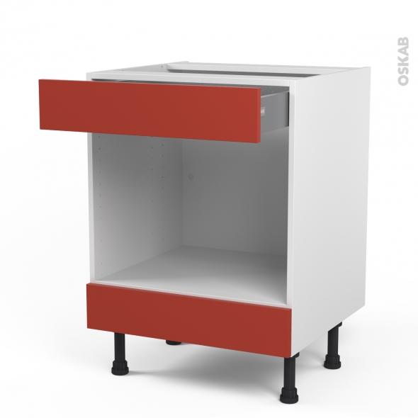 HELIO Rouge - Meuble bas MO niche 45 - 1 tiroir haut - L60xH70xP58