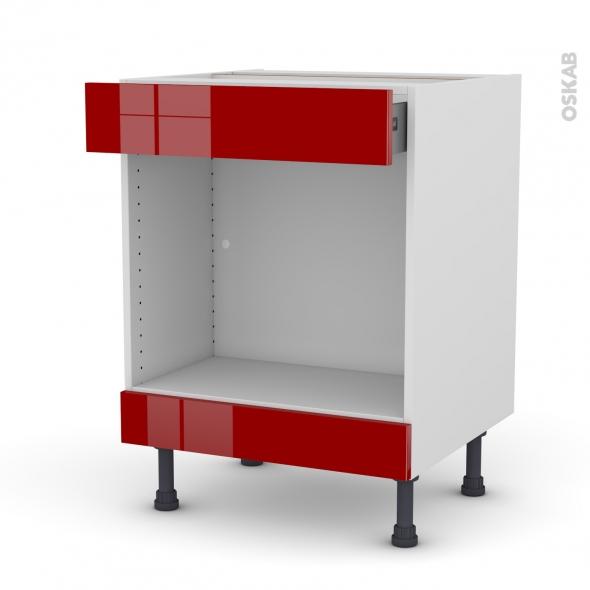 Meuble de cuisine - Bas MO encastrable niche 45 - STECIA Rouge - 1 tiroir haut - L60 x H70 x P58 cm