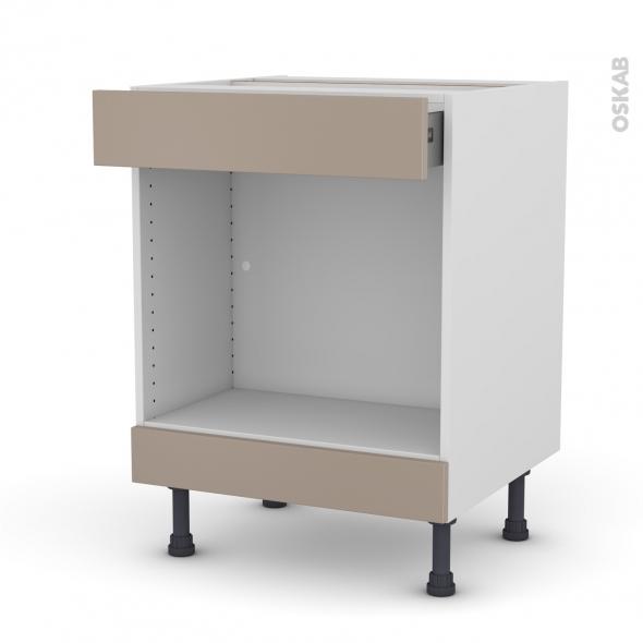 Meuble de cuisine - Bas MO encastrable niche 45 - GINKO Taupe - 1 tiroir haut - L60 x H70 x P58 cm