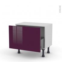 Meuble de cuisine - Bas - KERIA Aubergine - 1 casserolier - L60 x H41 x P37 cm