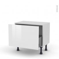 Meuble de cuisine - Bas - STECIA Blanc - 1 casserolier - L60 x H41 x P37 cm