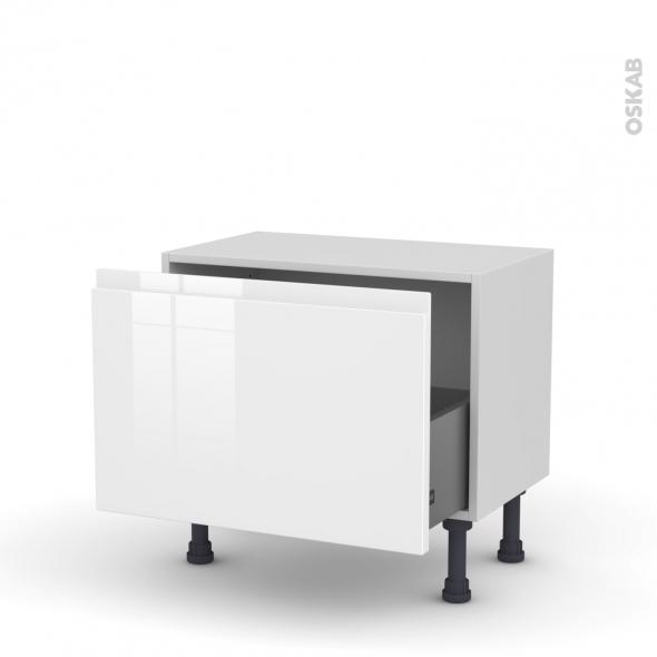 Meuble de cuisine - Bas - IPOMA Blanc - 1 casserolier - L60 x H41 x P37 cm