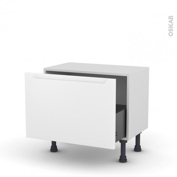 Meuble de cuisine - Bas - PIMA Blanc - 1 casserolier - L60 x H41 x P37 cm
