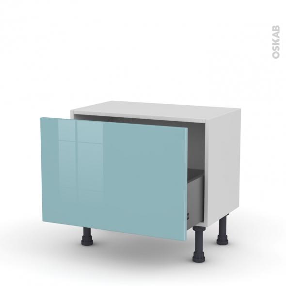 Meuble de cuisine - Bas - KERIA Bleu - 1 casserolier - L60 x H41 x P37 cm
