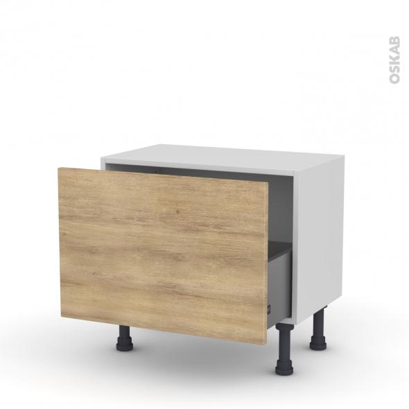 Meuble de cuisine - Bas - HOSTA Chêne naturel - 1 casserolier - L60 x H41 x P37 cm