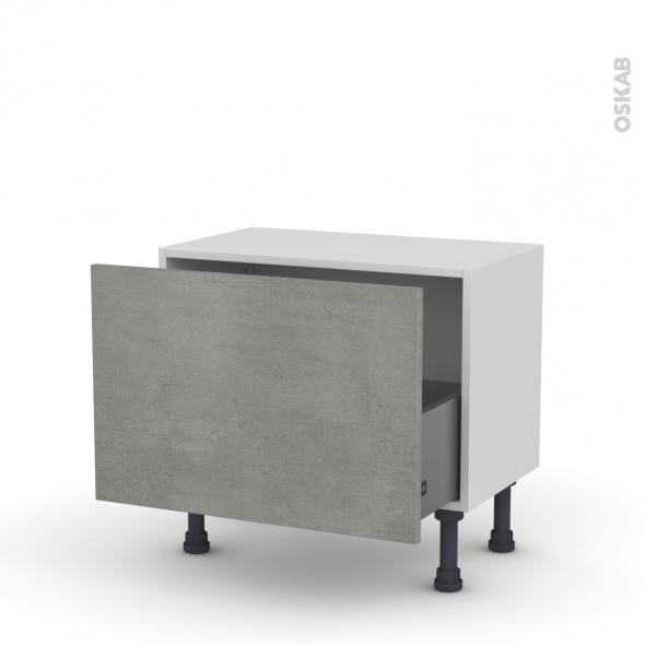 Meuble de cuisine - Bas - FAKTO Béton - 1 casserolier - L60 x H41 x P37 cm