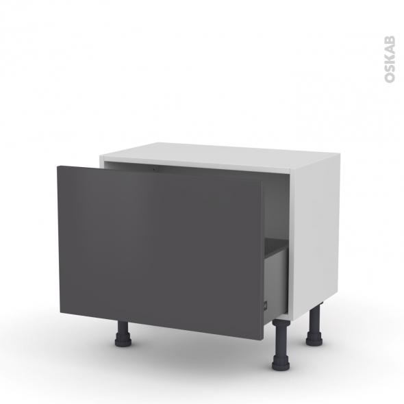 Meuble de cuisine - Bas - GINKO Gris - 1 casserolier - L60 x H41 x P37 cm