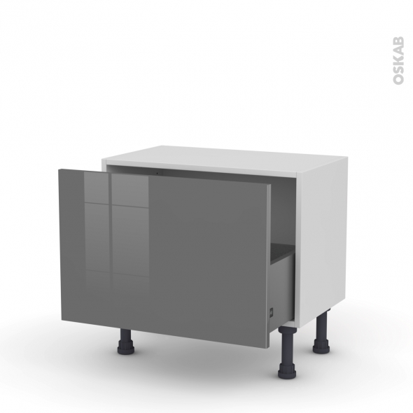 STECIA Gris - Meuble bas prof.37 - 1 casserolier - L60xH41xP37