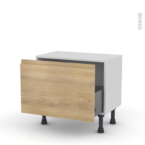 Meuble de cuisine - Bas - IPOMA Chêne naturel - 1 casserolier - L60 x H41 x P37 cm