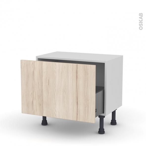 Meuble de cuisine - Bas - IKORO Chêne clair - 1 casserolier - L60 x H41 x P37 cm