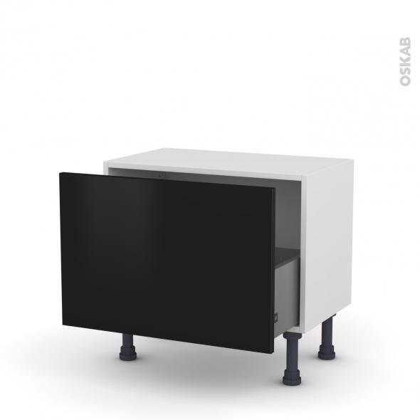 Meuble de cuisine - Bas - GINKO Noir - 1 casserolier - L60 x H41 x P37 cm