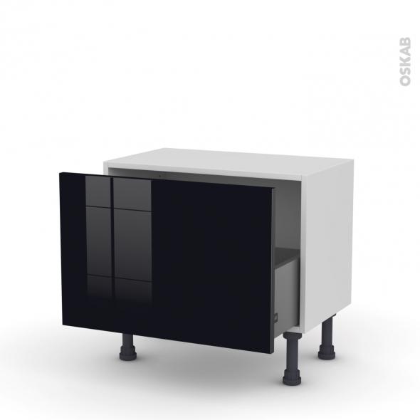 Meuble de cuisine - Bas - KERIA Noir - 1 casserolier - L60 x H41 x P37 cm