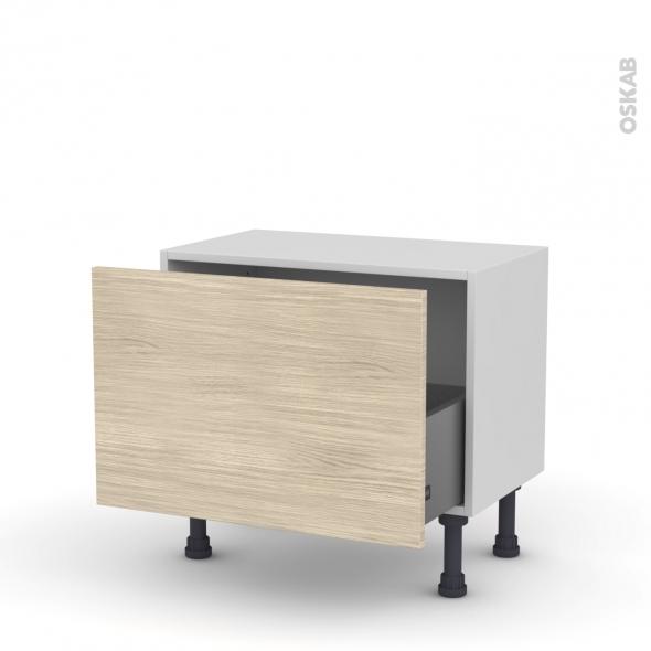 Meuble de cuisine - Bas - STILO Noyer Blanchi - 1 casserolier - L60 x H41 x P37 cm