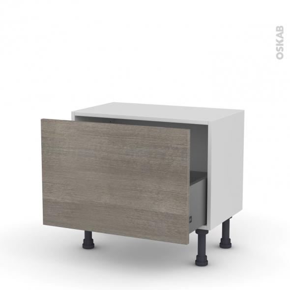 Meuble de cuisine - Bas - STILO Noyer Naturel - 1 casserolier - L60 x H41 x P37 cm