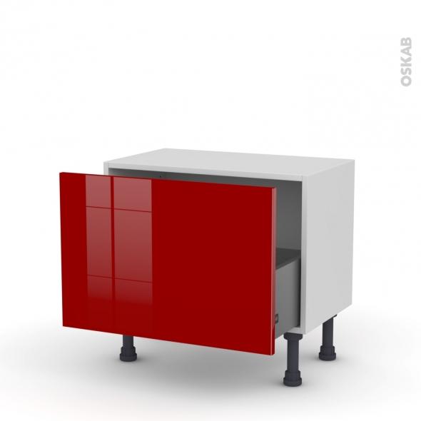 Meuble de cuisine - Bas - STECIA Rouge - 1 casserolier - L60 x H41 x P37 cm