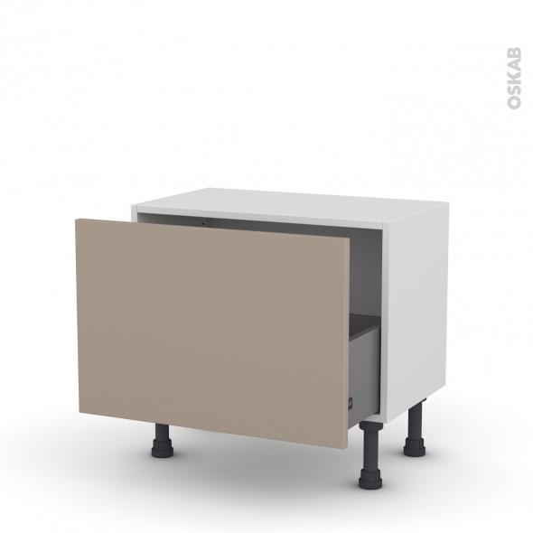 Meuble de cuisine - Bas - GINKO Taupe - 1 casserolier - L60 x H41 x P37 cm