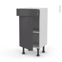Meuble de cuisine - Bas - GINKO Gris - 1 porte 1 tiroir - L40 x H70 x P37 cm