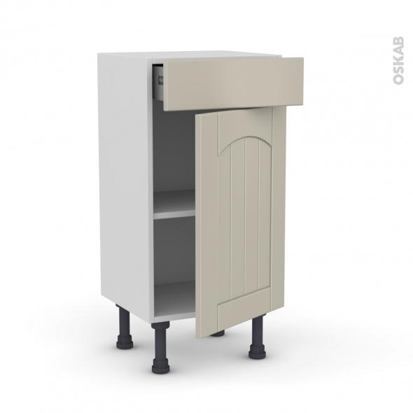 SILEN Argile - Meuble bas prof.37 - 1 porte 1 tiroir - L40xH70xP37 - droite