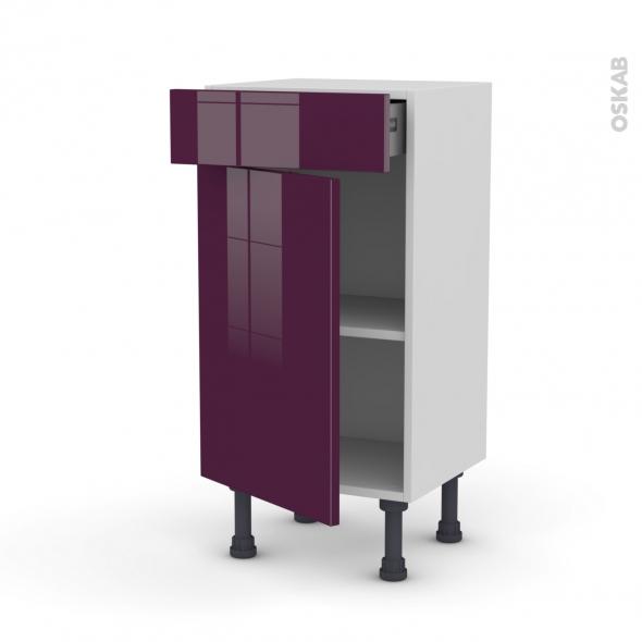 Meuble de cuisine - Bas - KERIA Aubergine - 1 porte 1 tiroir - L40 x H70 x P37 cm