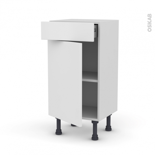 GINKO Blanc - Meuble bas prof.37 - 1 porte 1 tiroir - L40xH70xP37
