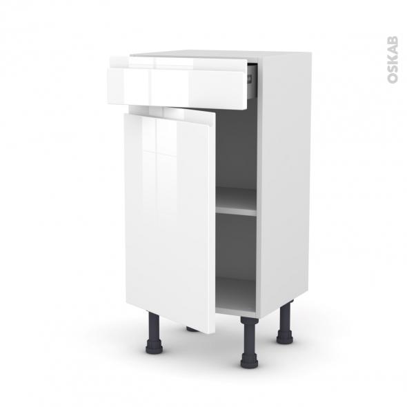 Meuble de cuisine - Bas - IPOMA Blanc - 1 porte 1 tiroir - L40 x H70 x P37 cm