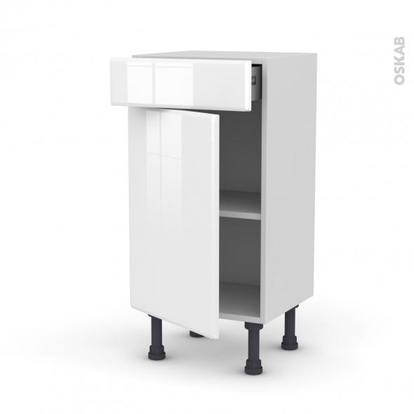 Meuble de cuisine - Bas - IRIS Blanc - 1 porte 1 tiroir - L40 x H70 x P37 cm