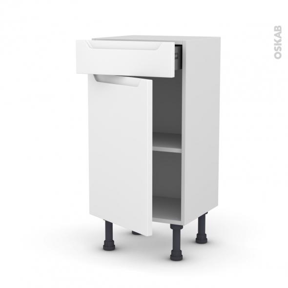 PIMA Blanc - Meuble bas prof.37 - 1 porte 1 tiroir - L40xH70xP37