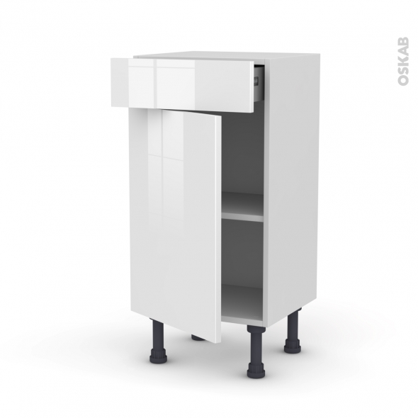 Meuble de cuisine - Bas - STECIA Blanc - 1 porte 1 tiroir - L40 x H70 x P37 cm