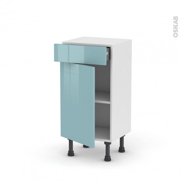Meuble de cuisine - Bas - KERIA Bleu - 1 porte 1 tiroir - L40 x H70 x P37 cm