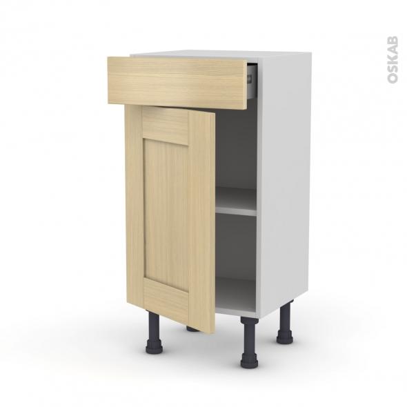 BASILIT Bois Vernis - Meuble bas prof.37 - 1 porte 1 tiroir - L40xH70xP37