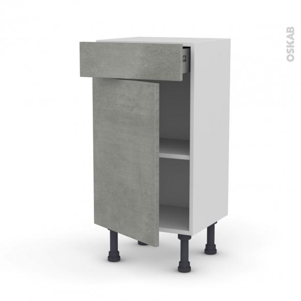 FAKTO Béton - Meuble bas prof.37 - 1 porte 1 tiroir - L40xH70xP37