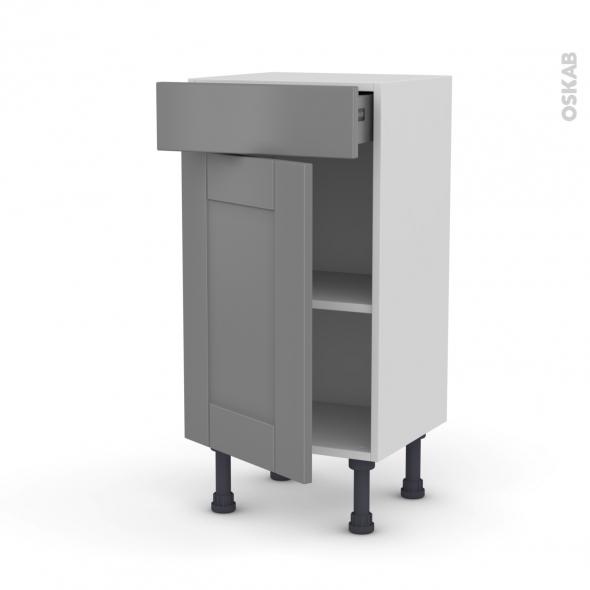 Meuble de cuisine - Bas - FILIPEN Gris - 1 porte 1 tiroir - L40 x H70 x P37 cm