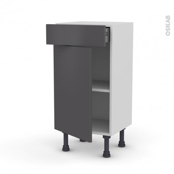 GINKO Gris - Meuble bas prof.37 - 1 porte 1 tiroir - L40xH70xP37