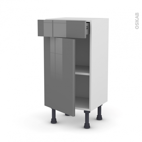 STECIA Gris - Meuble bas prof.37 - 1 porte 1 tiroir - L40xH70xP37