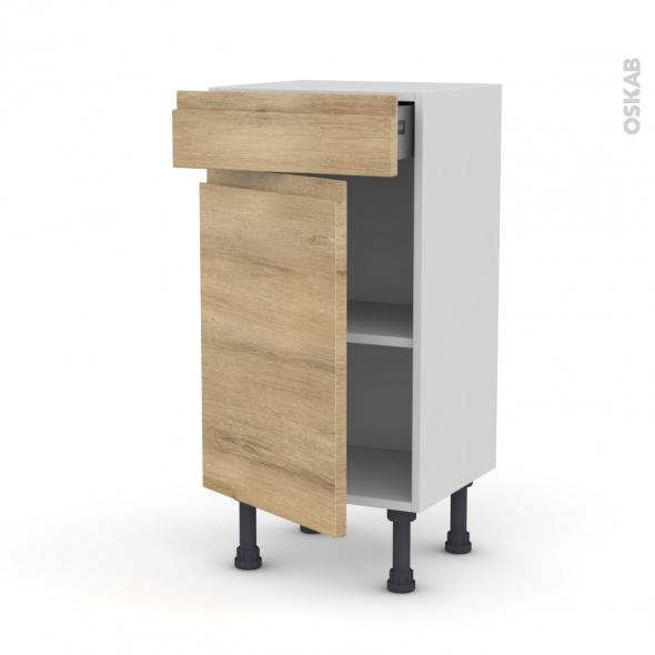 Meuble de cuisine - Bas - IPOMA Chêne naturel - 1 porte 1 tiroir - L40 x H70 x P37 cm