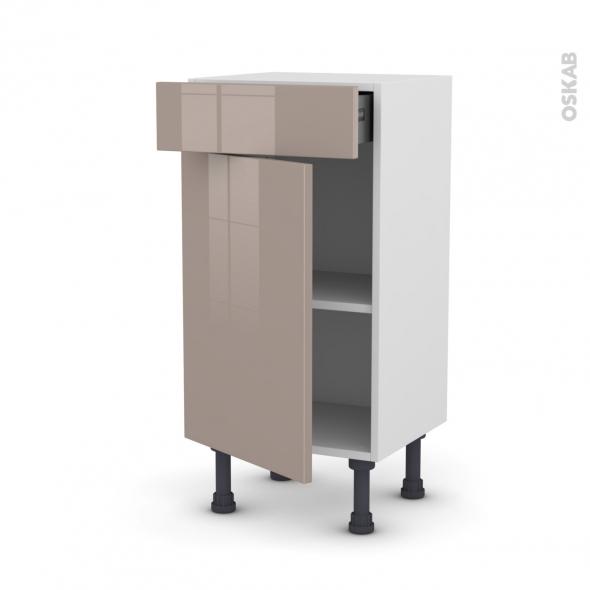 Meuble de cuisine - Bas - KERIA Moka - 1 porte 1 tiroir - L40 x H70 x P37 cm