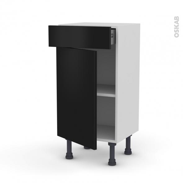 GINKO Noir - Meuble bas prof.37 - 1 porte 1 tiroir - L40xH70xP37