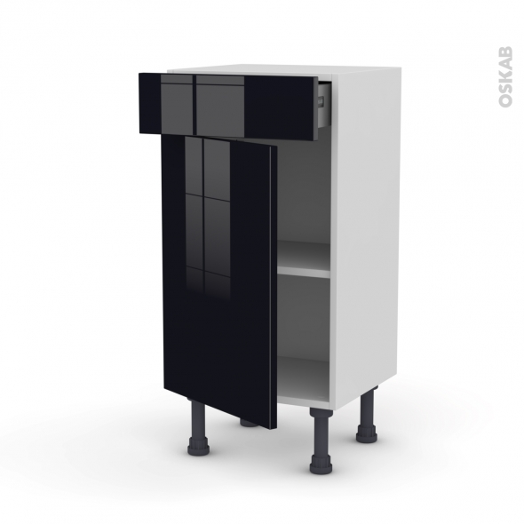 Meuble de cuisine - Bas - KERIA Noir - 1 porte 1 tiroir - L40 x H70 x P37 cm