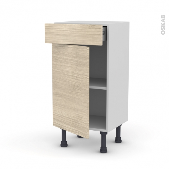 STILO Noyer Blanchi - Meuble bas prof.37 - 1 porte 1 tiroir - L40xH70xP37