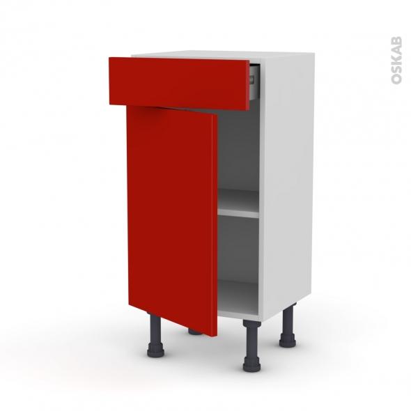 GINKO Rouge - Meuble bas prof.37 - 1 porte 1 tiroir - L40xH70xP37