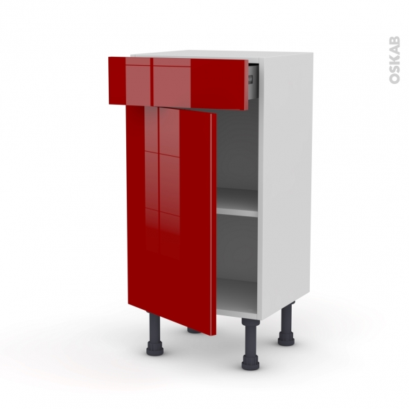 Meuble de cuisine - Bas - STECIA Rouge - 1 porte 1 tiroir - L40 x H70 x P37 cm