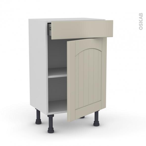 SILEN Argile - Meuble bas prof.37 - 1 porte 1 tiroir - L50xH70xP37 - droite