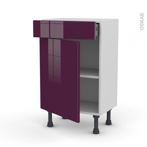 Meuble de cuisine - Bas - KERIA Aubergine - 1 porte 1 tiroir - L50 x H70 x P37 cm