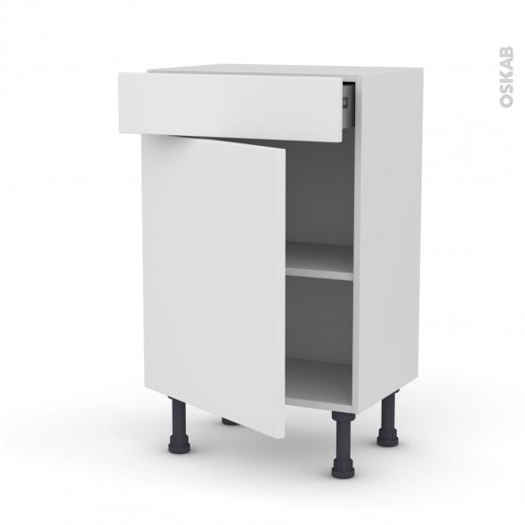 Meuble de cuisine - Bas - GINKO Blanc - 1 porte 1 tiroir - L50 x H70 x P37 cm